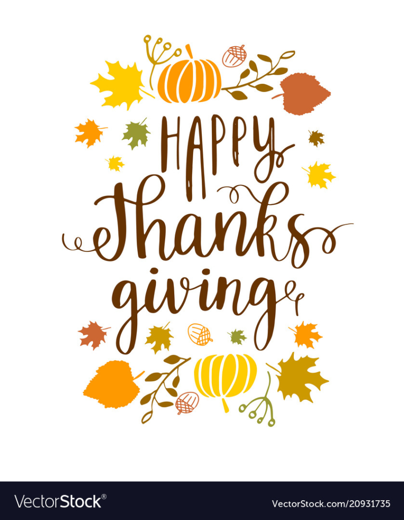 Happy Thanksgiving lettering phrase and autumn harvest symbols on white background. Vector illustration